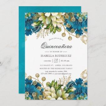 Vintage Turquoise & Gold Shabby Floral Quinceañera Invitation