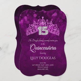 Violet, Pink Quinceanera with Tiara Invitation