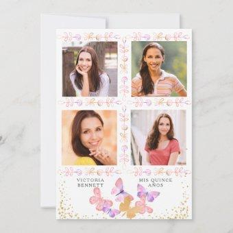Watercolor Butterfly Quinceanera with 4 Photo Invitation