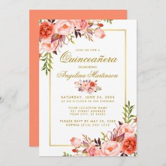 Watercolor Coral Floral Quinceanera Gold Frame Invitation