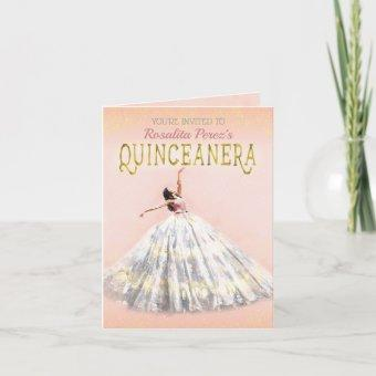 Watercolor Dress Blush Pink Gold Quinceanera Fancy Invitation