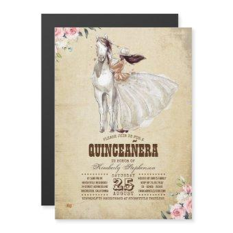 Western Country 15th Birthday Quinceañera Magnetic Invitation