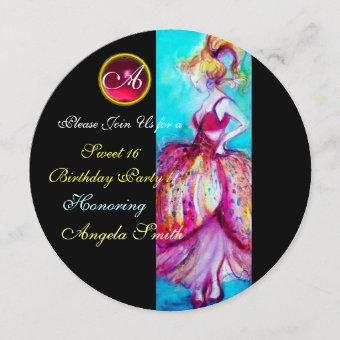 WHIMSICAL YOUNG GIRL SWEET 16 PARTY GEM MONOGRAM INVITATION