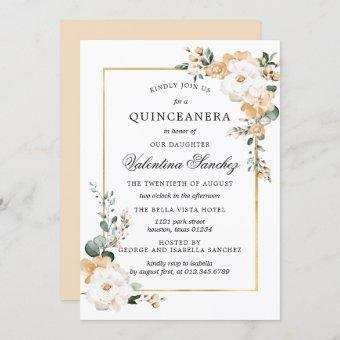 White and Gold Rose Floral Quinceanera Invitation