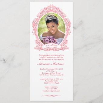 White and Hot Pink Quinceanera Photo Invitations