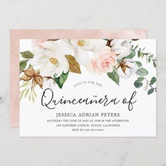 White & Blush Floral Beautiful Quinceanera Party Invitation