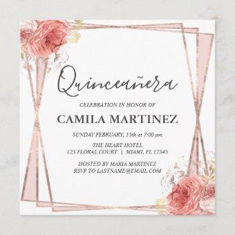 White Blush Pink Rose Gold Quinceanera Party Invitation