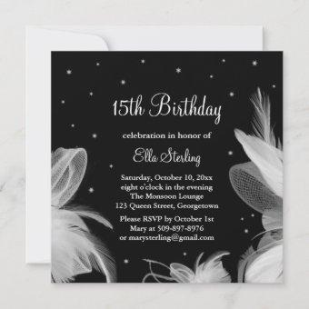 White Feathers in the Evening Birthday Invitation