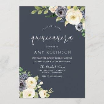 White & Navy Flowers Beautiful Quinceanera Party Invitation