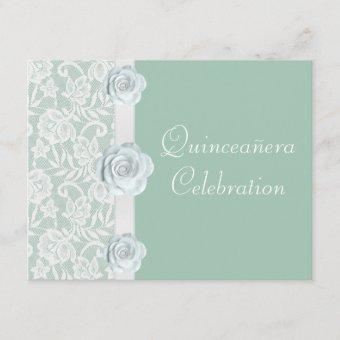 White Roses & Lace Mint Green Birthday Quinceanera Invitation