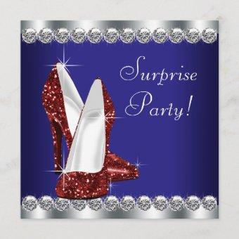 Womans Red White and Blue Birthday Party Invitation