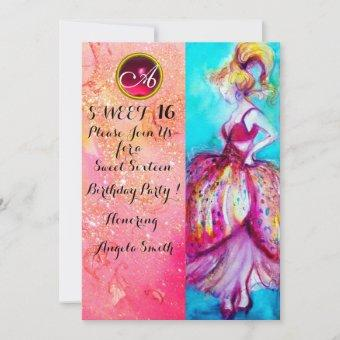 YOUNG GIRL SWEET 16 PARTY,Pink Sparkles Monogram Invitation